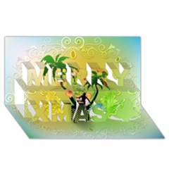 Surfing, Surfboarder With Palm And Flowers And Decorative Floral Elements Merry Xmas 3d Greeting Card (8x4)