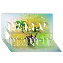 Surfing, Surfboarder With Palm And Flowers And Decorative Floral Elements Happy New Year 3d Greeting Card (8x4)