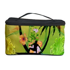 Surfing, Surfboarder With Palm And Flowers And Decorative Floral Elements Cosmetic Storage Cases