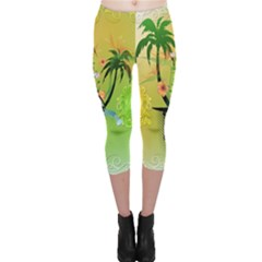 Surfing, Surfboarder With Palm And Flowers And Decorative Floral Elements Capri Leggings