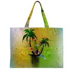 Surfing, Surfboarder With Palm And Flowers And Decorative Floral Elements Zipper Tiny Tote Bags
