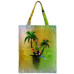 Surfing, Surfboarder With Palm And Flowers And Decorative Floral Elements Zipper Classic Tote Bags