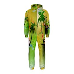 Surfing, Surfboarder With Palm And Flowers And Decorative Floral Elements Hooded Jumpsuit (kids)