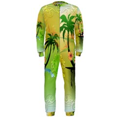 Surfing, Surfboarder With Palm And Flowers And Decorative Floral Elements OnePiece Jumpsuit (Men)