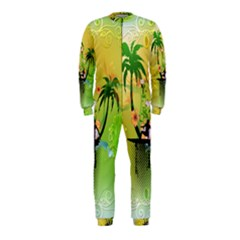 Surfing, Surfboarder With Palm And Flowers And Decorative Floral Elements OnePiece Jumpsuit (Kids)