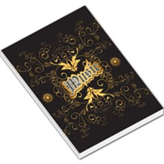 Music The Word With Wonderful Decorative Floral Elements In Gold Large Memo Pads