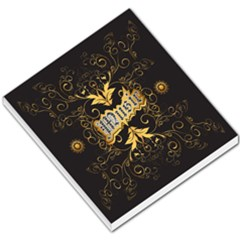 Music The Word With Wonderful Decorative Floral Elements In Gold Small Memo Pads