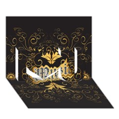 Music The Word With Wonderful Decorative Floral Elements In Gold I Love You 3d Greeting Card (7x5)