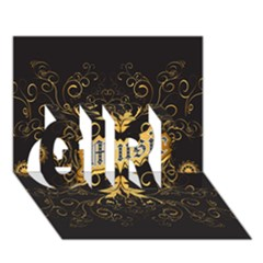 Music The Word With Wonderful Decorative Floral Elements In Gold Girl 3d Greeting Card (7x5)