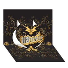 Music The Word With Wonderful Decorative Floral Elements In Gold Heart 3D Greeting Card (7x5)