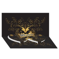 Music The Word With Wonderful Decorative Floral Elements In Gold Twin Heart Bottom 3D Greeting Card (8x4)
