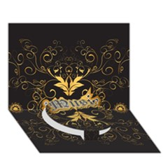 Music The Word With Wonderful Decorative Floral Elements In Gold Circle Bottom 3D Greeting Card (7x5)