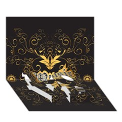 Music The Word With Wonderful Decorative Floral Elements In Gold LOVE Bottom 3D Greeting Card (7x5)