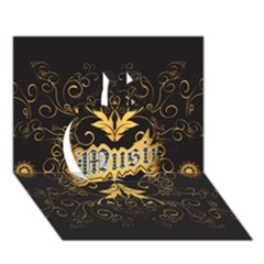 Music The Word With Wonderful Decorative Floral Elements In Gold Apple 3d Greeting Card (7x5)