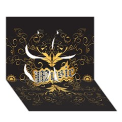 Music The Word With Wonderful Decorative Floral Elements In Gold Clover 3d Greeting Card (7x5)