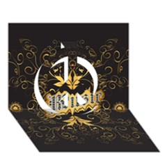 Music The Word With Wonderful Decorative Floral Elements In Gold Peace Sign 3D Greeting Card (7x5)