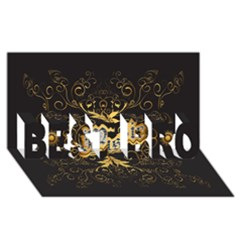 Music The Word With Wonderful Decorative Floral Elements In Gold Best Bro 3d Greeting Card (8x4)