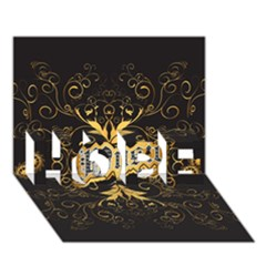 Music The Word With Wonderful Decorative Floral Elements In Gold HOPE 3D Greeting Card (7x5)