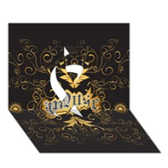 Music The Word With Wonderful Decorative Floral Elements In Gold Ribbon 3D Greeting Card (7x5)