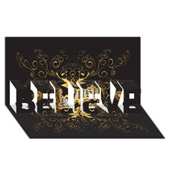 Music The Word With Wonderful Decorative Floral Elements In Gold Believe 3d Greeting Card (8x4)