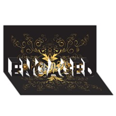 Music The Word With Wonderful Decorative Floral Elements In Gold ENGAGED 3D Greeting Card (8x4)