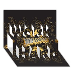 Music The Word With Wonderful Decorative Floral Elements In Gold WORK HARD 3D Greeting Card (7x5)