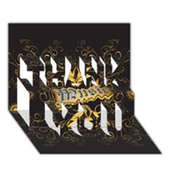 Music The Word With Wonderful Decorative Floral Elements In Gold THANK YOU 3D Greeting Card (7x5)