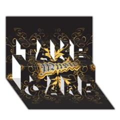 Music The Word With Wonderful Decorative Floral Elements In Gold TAKE CARE 3D Greeting Card (7x5)
