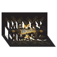 Music The Word With Wonderful Decorative Floral Elements In Gold Merry Xmas 3d Greeting Card (8x4)