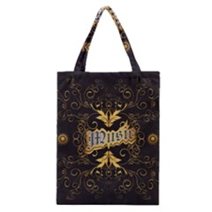 Music The Word With Wonderful Decorative Floral Elements In Gold Classic Tote Bags