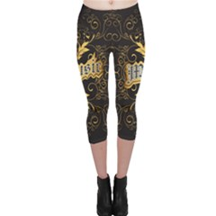 Music The Word With Wonderful Decorative Floral Elements In Gold Capri Leggings