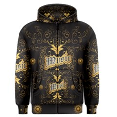 Music The Word With Wonderful Decorative Floral Elements In Gold Men s Zipper Hoodies