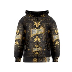 Music The Word With Wonderful Decorative Floral Elements In Gold Kids Zipper Hoodies