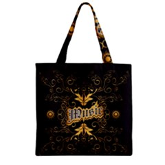Music The Word With Wonderful Decorative Floral Elements In Gold Zipper Grocery Tote Bags