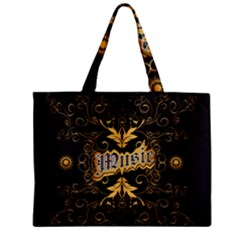 Music The Word With Wonderful Decorative Floral Elements In Gold Zipper Tiny Tote Bags