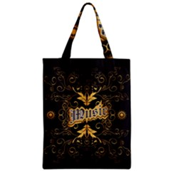 Music The Word With Wonderful Decorative Floral Elements In Gold Zipper Classic Tote Bags
