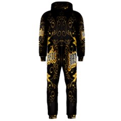 Music The Word With Wonderful Decorative Floral Elements In Gold Hooded Jumpsuit (men)