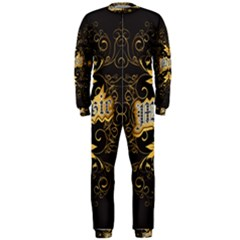 Music The Word With Wonderful Decorative Floral Elements In Gold Onepiece Jumpsuit (men)