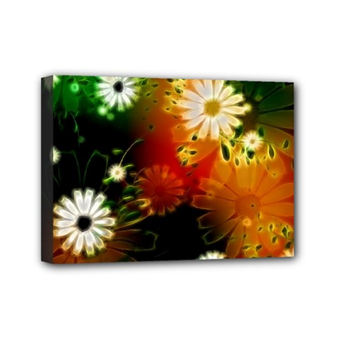 Awesome Flowers In Glowing Lights Mini Canvas 7  x 5