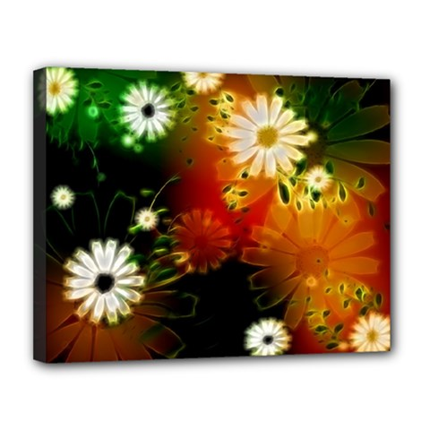 Awesome Flowers In Glowing Lights Canvas 14  x 11