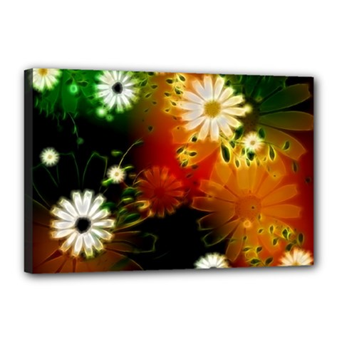 Awesome Flowers In Glowing Lights Canvas 18  x 12