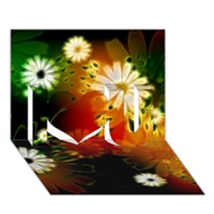 Awesome Flowers In Glowing Lights I Love You 3d Greeting Card (7x5)