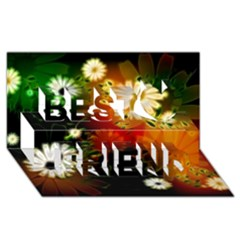Awesome Flowers In Glowing Lights Best Friends 3D Greeting Card (8x4)