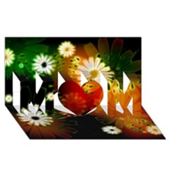 Awesome Flowers In Glowing Lights MOM 3D Greeting Card (8x4)