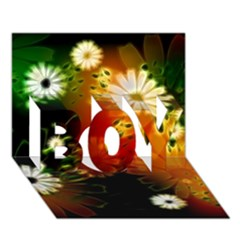 Awesome Flowers In Glowing Lights BOY 3D Greeting Card (7x5)