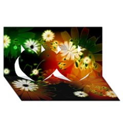 Awesome Flowers In Glowing Lights Twin Hearts 3D Greeting Card (8x4)