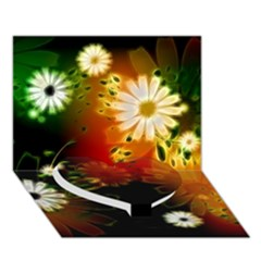 Awesome Flowers In Glowing Lights Heart Bottom 3d Greeting Card (7x5)
