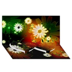 Awesome Flowers In Glowing Lights Twin Heart Bottom 3d Greeting Card (8x4)
