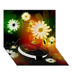 Awesome Flowers In Glowing Lights Circle Bottom 3d Greeting Card (7x5)