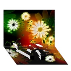 Awesome Flowers In Glowing Lights LOVE Bottom 3D Greeting Card (7x5)